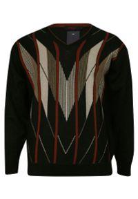 Czarny sweter Kings z dekoltem w kształcie v, na zimę, klasyczny