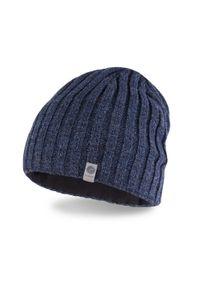 Zimowa czapka męska PaMaMi - Granatowa mulina. Kolor: niebieski. Materiał: akryl. Sezon: zima. Styl: elegancki #3