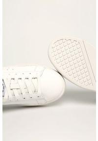 Białe buty sportowe Diesel z cholewką, na sznurówki, z okrągłym noskiem