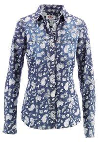 Niebieska koszula bonprix z nadrukiem, długa