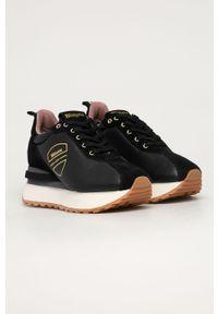 Czarne buty sportowe Blauer na średnim obcasie, z cholewką