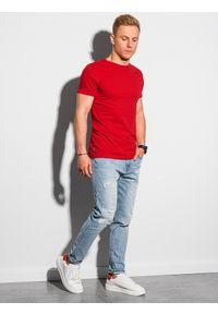 Ombre Clothing - T-shirt męski bawełniany basic S1370 - czerwony - XXL. Kolor: czerwony. Materiał: bawełna. Styl: klasyczny