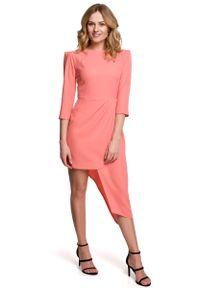 MOE - Dopasowana Sukienka z Asymetrycznym Dołem - Pomarańczowa. Kolor: pomarańczowy. Materiał: poliester, elastan. Typ sukienki: asymetryczne