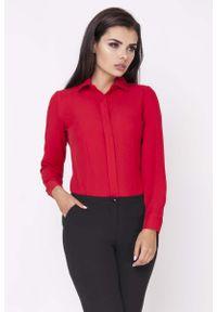 Nommo - Czerwona Klasyczna Taliowana Koszula z Krytym Zapięciem. Kolor: czerwony. Materiał: wiskoza, poliester. Styl: klasyczny