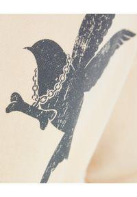 ONETEASPOON - Beżowa bluza z ptakiem. Kolor: beżowy. Materiał: bawełna. Wzór: nadruk