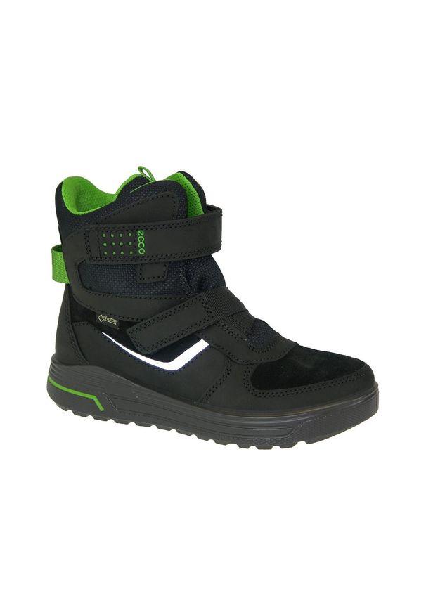 Czarne buty trekkingowe ecco na zimę, w kolorowe wzory, z cholewką