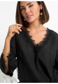 Sukienka lniana TENCEL™ Lyocell bonprix czarny. Kolor: czarny. Materiał: len, lyocell. Wzór: koronka