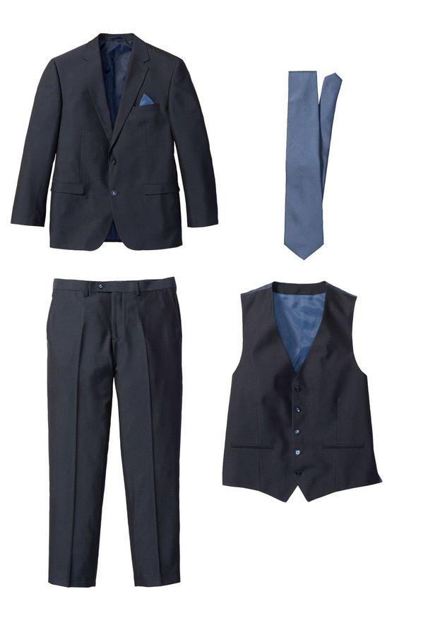 Garnitur 4-częściowy (marynarka, spodnie, kamizelka i krawat) bonprix ciemnoniebieski. Kolor: niebieski. Styl: elegancki