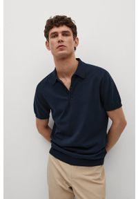 Niebieska koszulka polo Mango Man gładkie, krótka, na co dzień
