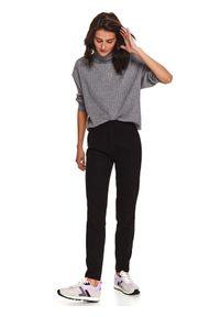 TOP SECRET - Spodnie z gumą w pasie. Okazja: do pracy, na co dzień. Kolor: czarny. Materiał: guma. Sezon: zima. Styl: sportowy, klasyczny, casual