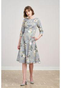 Marie Zélie - Sukienka Galatea Valeriana szara. Kolor: szary. Materiał: elastan, skóra, materiał, bawełna