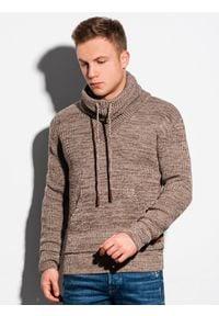 Ombre Clothing - Sweter męski E152 - beżowy - XXL. Typ kołnierza: kołnierzyk stójkowy. Kolor: beżowy. Materiał: akryl. Wzór: ze splotem