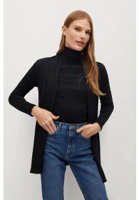 Czarny sweter rozpinany mango długi, casualowy, z długim rękawem, na co dzień