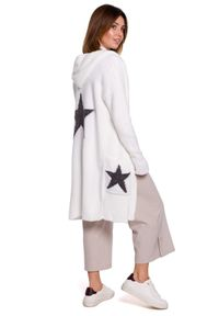 Biały sweter BE Knit długi, z kapturem, sportowy