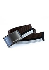 BRODRENE - Pasek męski do spodni parciany Brodrene P11G brązowo-czarno-biały. Kolor: czarny, biały, wielokolorowy, brązowy. Materiał: jeans, materiał. Styl: elegancki