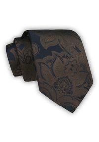 Chattier - Brązowy Krawat Męski w Kwiaty, Klasyczny, Szeroki 8 cm, Elegancki -CHATTIER. Kolor: beżowy, brązowy, wielokolorowy. Materiał: tkanina. Wzór: kwiaty. Styl: klasyczny, elegancki