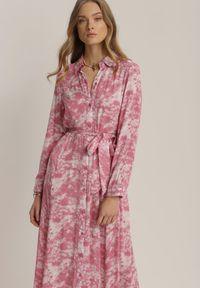 Renee - Ciemnoróżowa Sukienka Silelphise. Kolor: różowy. Materiał: materiał. Długość rękawa: długi rękaw. Typ sukienki: koszulowe. Długość: maxi #3