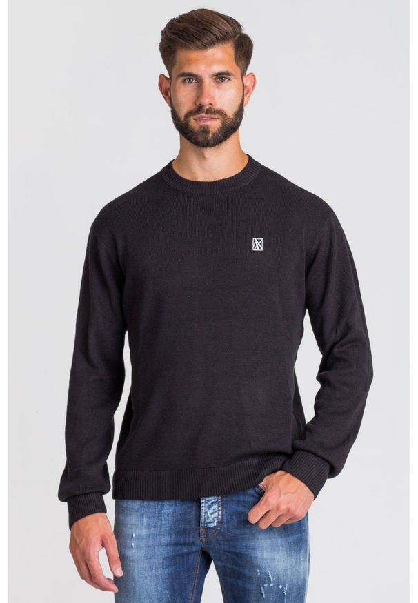 Sweter Armani Exchange w kolorowe wzory, z okrągłym kołnierzem
