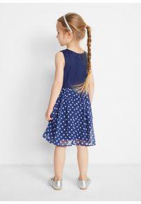 Niebieska sukienka bonprix z kokardą, w kropki