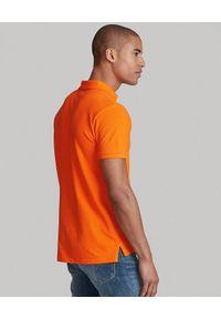 Ralph Lauren - RALPH LAUREN - Pomarańczowy t-shirt polo Classic Fit. Typ kołnierza: polo. Kolor: pomarańczowy. Materiał: bawełna. Wzór: haft #2