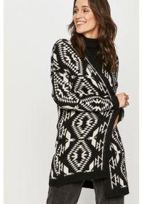 Czarny sweter rozpinany Answear Lab wakacyjny, z długim rękawem, długi