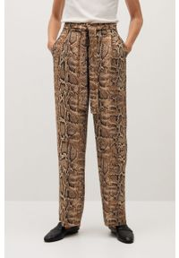Brązowe spodnie materiałowe mango z podwyższonym stanem