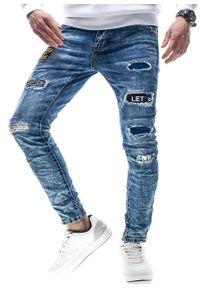 Niebieskie spodnie Recea z aplikacjami, eleganckie