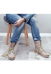 Zapato - botki sznurowane na niskim obcasie - skóra naturalna - model 424 - kolor cappuccino. Okazja: na spacer. Wysokość cholewki: za kostkę. Materiał: skóra. Obcas: na obcasie. Styl: sportowy. Wysokość obcasa: niski