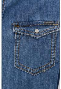 Pepe Jeans - Koszula bawełniana jeansowa Rhonda. Okazja: na co dzień. Kolor: niebieski. Materiał: bawełna. Długość rękawa: długi rękaw. Długość: długie. Styl: casual