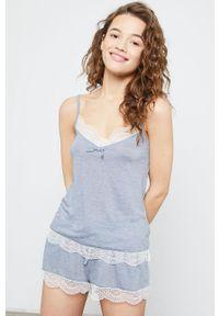 Etam - Top piżamowy Warm Day. Kolor: turkusowy. Materiał: dzianina, koronka