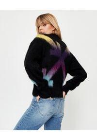 OFF-WHITE - Moherowy sweter ze strzałami. Kolekcja: plus size. Kolor: czarny. Materiał: moher. Długość rękawa: długi rękaw. Długość: długie. Wzór: kolorowy. Sezon: jesień. Styl: elegancki