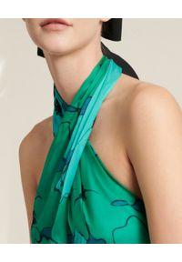 Luisa Spagnoli - LUISA SPAGNOLI - Turkusowa sukienka z kwiatowym printem Penny. Kolor: zielony. Materiał: jedwab. Wzór: kwiaty, nadruk. Typ sukienki: rozkloszowane. Styl: wakacyjny. Długość: maxi