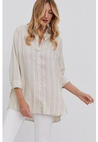 Answear Lab - Koszula. Kolor: beżowy. Materiał: bawełna, tkanina. Długość rękawa: długi rękaw. Długość: długie. Wzór: gładki. Styl: wakacyjny