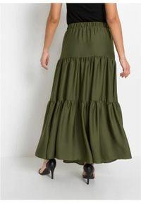 Spódnica z falban z poliestru z recyklingu bonprix ciemny khaki. Kolor: zielony. Materiał: poliester. Długość: długie #5