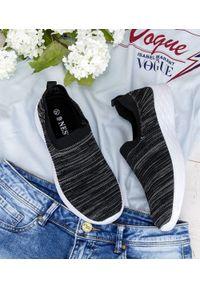 Czarne buty sportowe NEST w kolorowe wzory, bez zapięcia, trekkingowe
