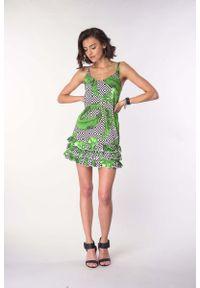 Sukienka wizytowa Nommo na lato, na ramiączkach, z falbankami