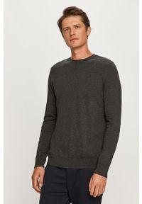 Szary sweter Selected z długim rękawem, długi, z okrągłym kołnierzem