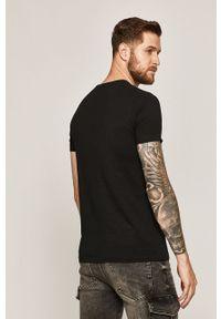 Czarny t-shirt medicine z okrągłym kołnierzem