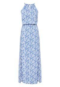 Długa sukienka z nadrukiem LENZING™ ECOVERO™ bonprix jasnoniebieski w kwiaty. Kolor: niebieski. Długość rękawa: na ramiączkach. Wzór: kwiaty, nadruk. Długość: maxi