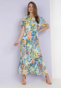 Born2be - Niebieska Sukienka Laomemoni. Okazja: na co dzień. Kolor: niebieski. Materiał: wiskoza, materiał. Długość rękawa: krótki rękaw. Wzór: aplikacja, kolorowy. Typ sukienki: proste. Styl: casual. Długość: maxi #4