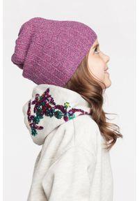 Wiosenna czapka dziewczęca PaMaMi - Jasnoszary. Kolor: szary. Materiał: elastan, bawełna. Sezon: wiosna