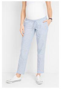 Spodnie ciążowe z lnem bonprix biało-niebieski w paski. Kolekcja: moda ciążowa. Kolor: biały. Materiał: len. Wzór: paski