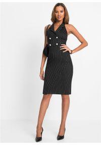 Sukienka biznesowa z ozdobnymi guzikami bonprix czarny w tenisowe prążki. Okazja: na spotkanie biznesowe. Kolor: czarny. Wzór: prążki. Styl: biznesowy