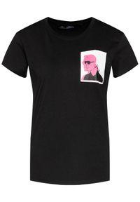 Czarny t-shirt Karl Lagerfeld z dekoltem karo, z nadrukiem