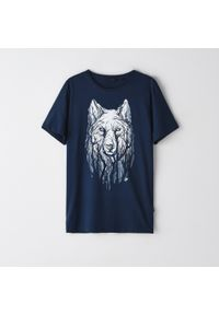 Niebieski t-shirt Cropp z nadrukiem