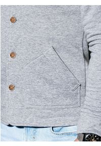 Ombre Clothing - Bluza męska rozpinana bez kaptura CARMELO - szara - XL. Typ kołnierza: bez kaptura. Kolor: szary. Materiał: dzianina