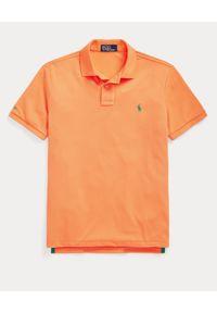Ralph Lauren - RALPH LAUREN - Pomarańczowa koszulka polo The Earth Custom Slim Fit. Okazja: na co dzień. Typ kołnierza: polo. Kolor: pomarańczowy. Materiał: tkanina, poliester, prążkowany. Długość: długie. Wzór: haft. Styl: klasyczny, casual