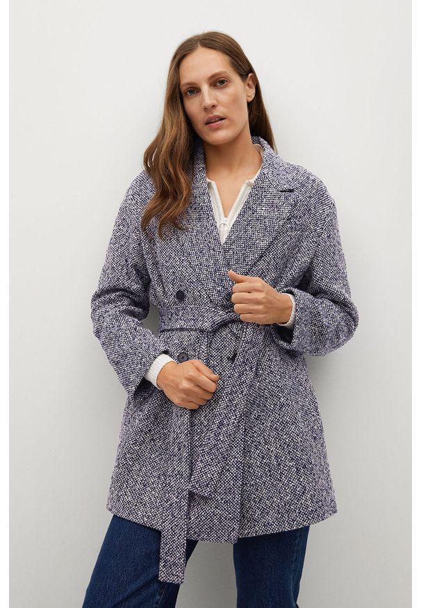 Niebieski płaszcz mango na co dzień, klasyczny, bez kaptura