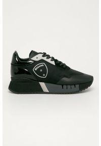 Czarne buty sportowe Blauer na sznurówki, na średnim obcasie