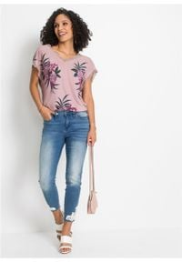 Shirt z nadrukiem i koronką bonprix różowobrązowy z roślinnym motywem. Kolor: różowy. Materiał: koronka. Wzór: nadruk, koronka